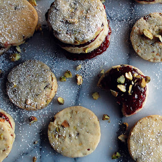 Raspberry Pistachio Shortbread Cookie Sandwiches.