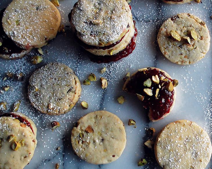 Raspberry Pistachio Shortbread Cookie Sandwiches Recipe