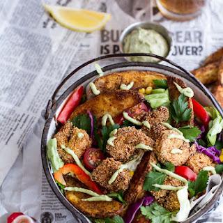 Cajun Shrimp 'n' Chips Po Boy Salad with Avocado Tarter Sauce..
