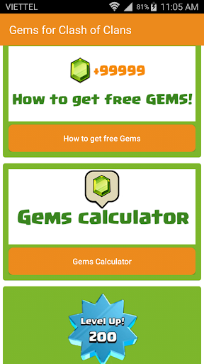 Gems Calculator for CoC 2017 for PC