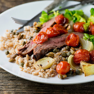Steak, Farro and Roasted Tomatoes