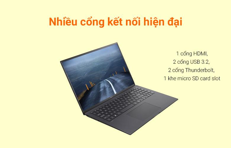Laptop LG Gram 2021 16Z90P-G.AH75A5 (i7-1165G7) (Đen)   Cổng kết nối đa dạng