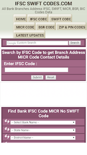 Bank IFSC SWIFT MICR Code Finder - náhled