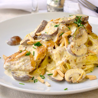 Dijon Chicken Linguine with Crimini Mushrooms and Toasted Almonds Recipe