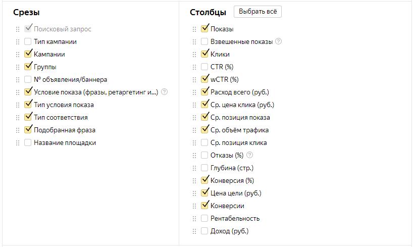 Контекстная реклама в кризис – настройка отчета по запросам в Яндекс.Директе