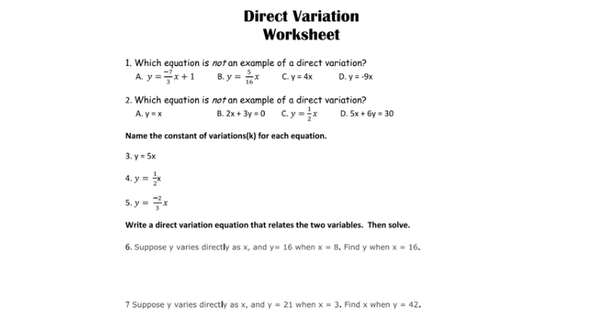 Printables Direct Variation Worksheets direct variation worksheet davezan friday hw google docs