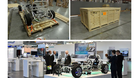 Deufol makes safe packaging for the Siemens racecar on its way to Las Vegas.