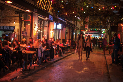Karakoy-at-night3.jpg - Modern cafes and restaurants line the cobblestone streets of Karaköy, one of Istanbul's trendiest neighborhoods.