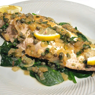 Cod in White Wine Lemon Caper Sauce.