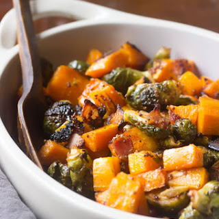 Maple Roasted Butternut Squash with Brussels Sprouts and Bacon!