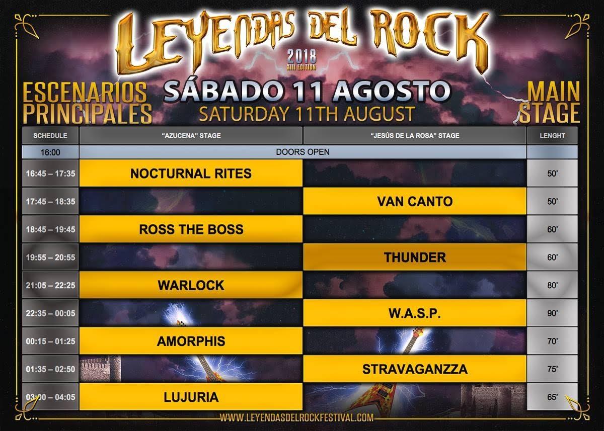 leyendas del rock 2018 horarios