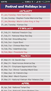 US Calendar 2019 - náhled