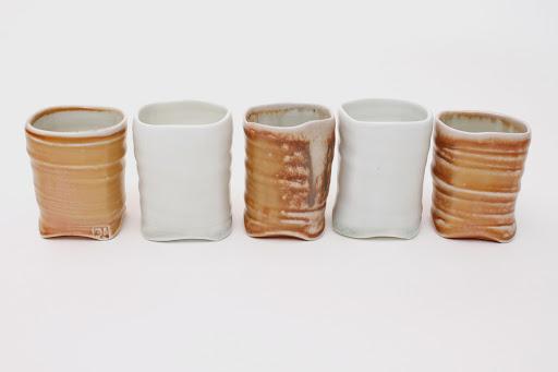 Sandy Lockwood Set of 5 ceramic cups entitled 'Square'