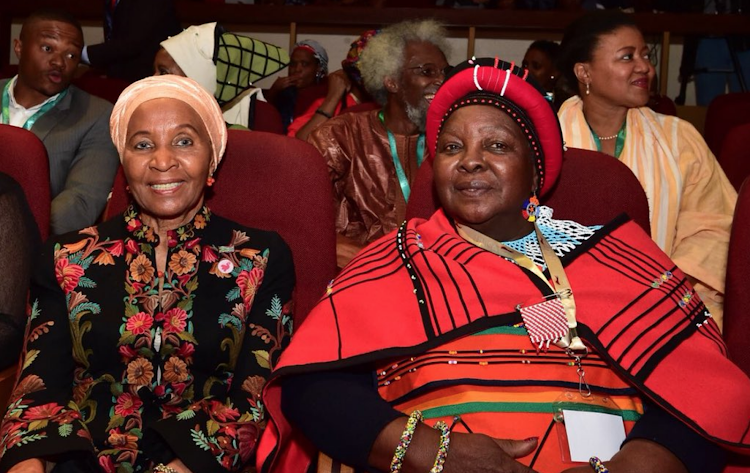Mrs Nontsikelelo Biko (R) and Mrs Zanele Mbeki at the 19th Annual Steve Biko Memorial Lecture at the University of South Africa in Tshwane.