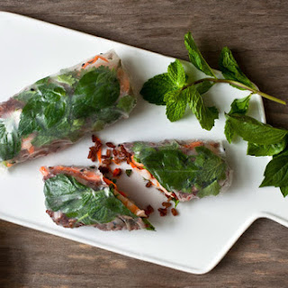 Spring Rolls With Shrimp, Red Rice and Herbs