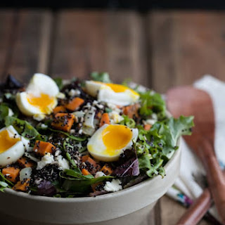 Sweet Potato and Quinoa Salad with Soft-Boiled Eggs.