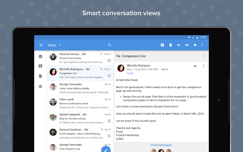 Screenshot 9 for Zoho Mail's Android app'