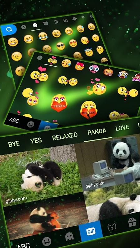 Green Neon Check Keyboard Theme screenshots