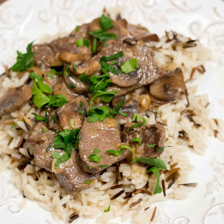 Venison Stroganoff on White and Wild Rice.