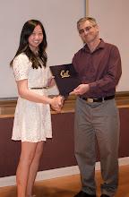 Photo: Jodi Loo accepting the James H. Eaton Memorial Scholarship.