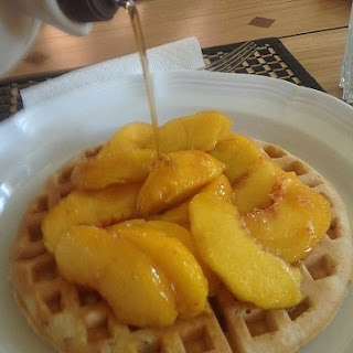 Bacon Waffles with Peaches