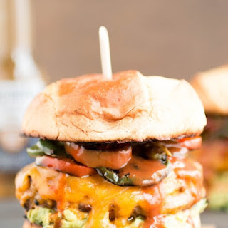Pork Burgers with Guacamole and Fried Jalapenos Recipe