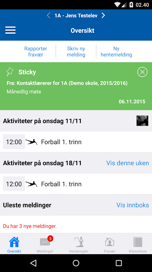 Meldeboka for Trondheim- screenshot
