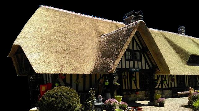 Dach z trzciny na budynku z muru pruskiego