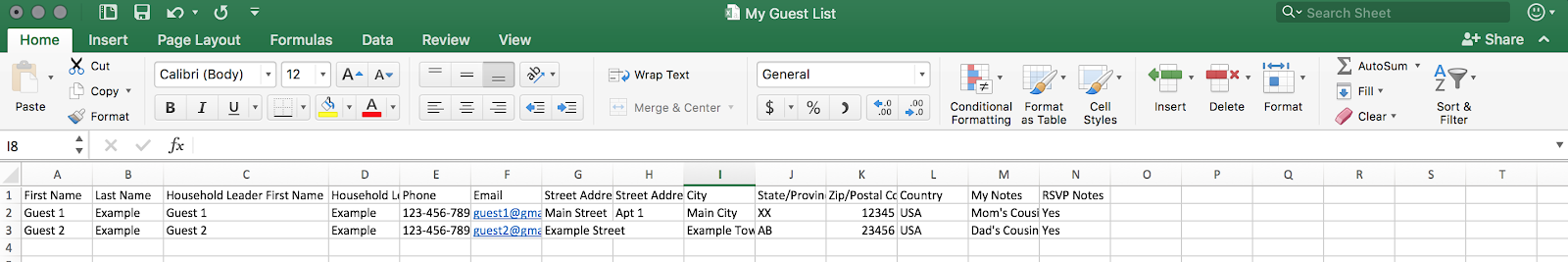 downloaded guest list excel file
