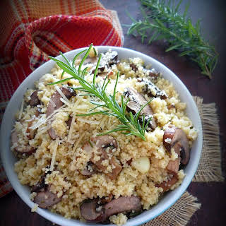 Couscous with Cremini Mushrooms, Rosemary, and Parmesan.