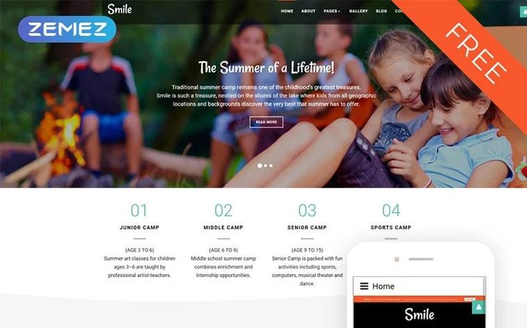 лучший бесплатный ботстрап тема шаблон веб-сайт детский кемпинг летний лагерь мероприятия