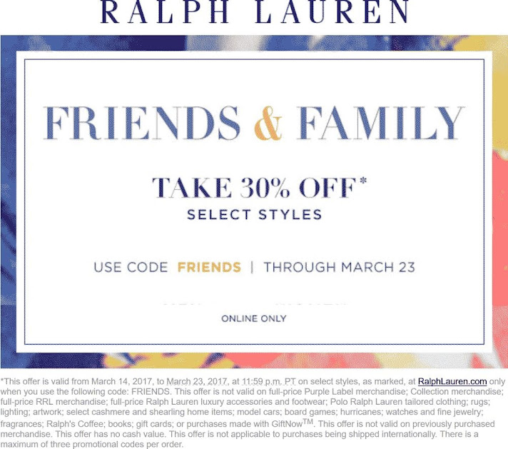 30 off online at ralph lauren via promo code friends 03 23 2017 free coupons. Black Bedroom Furniture Sets. Home Design Ideas