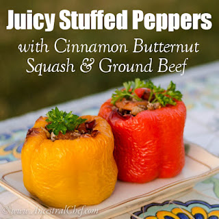 Paleo Juicy Stuffed Peppers Recipe – with Cinnamon Butternut Squash and Ground Beef