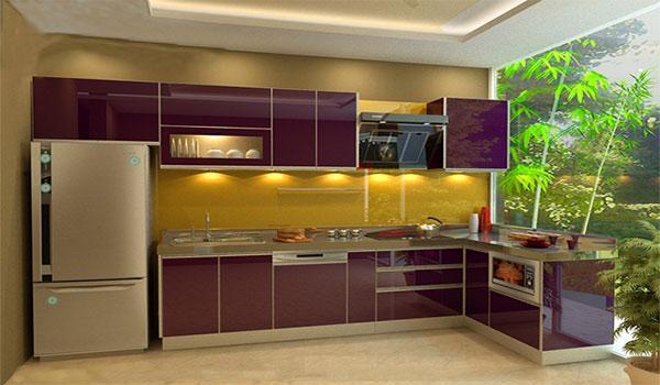 Tủ bếp Inox Acrylic sang trọng