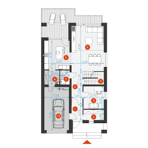 Dostępny 4A - Rzut parteru - wymiary szczegółowe