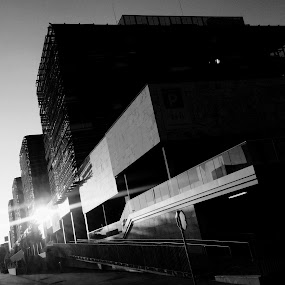 Dunajski kristali by Jernej Lah - Black & White Buildings & Architecture ( abstract, black and white, sunset, bw, ljubljana, architecture,  )