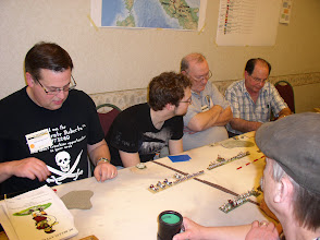 Photo: Pyramid Tourney in Pyramid Times - Cold Wars 2012 (from left to right) Jonathan Bostwick - NKE, Chris Rzengota - Sea Peoples, Bill Brown - Early Bedouin, Barry Levin - Early Libyan