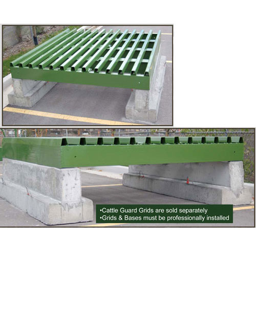 cattle guard with flat top rails sitting on concrete foundations.
