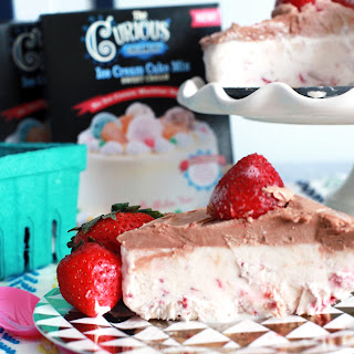 Roasted Strawberry Ice Cream Cake with Hazelnut Chocolate Icing