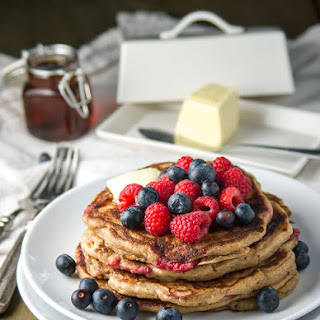 Whole Wheat Raspberry Kefir Sourdough Pancakes