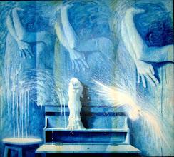 """Photo: """"A Obsessiva Saudade de Hariel"""". Acrílica/duratex, 136,5x121,5 cm, 1998, Mossoró, Rio Grande do Norte, Brasil. Coleção: Bruna Steinbach, João Pessoa-Pb."""