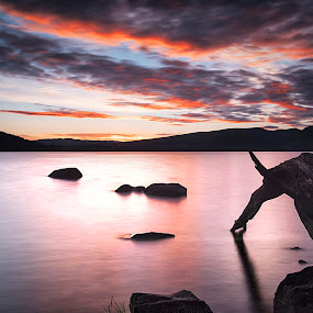 by Andrew Percival - Landscapes Sunsets & Sunrises ( clouds, scotland, red sky, tree, waterscape, sunset, nd, long exposure, loch, rocks, filter )