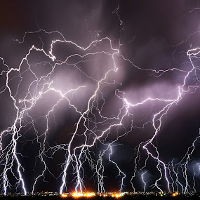 Nature's Dance by Lisa Kidd - Landscapes Weather ( idaho, lightning, night, sun valley, twin falls )