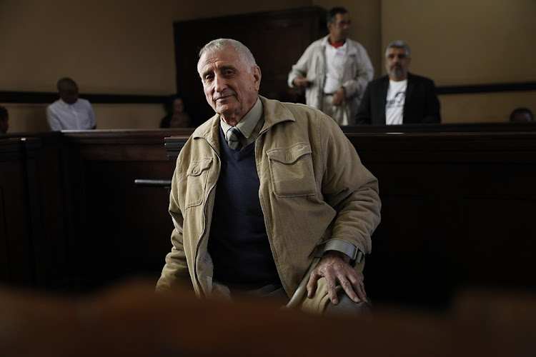 Joao Rodrigues, the apartheid-era policeman implicated in the murder of slain activist Ahmed Timol, at the Johannesburg magistrate's court on July 30 2018.