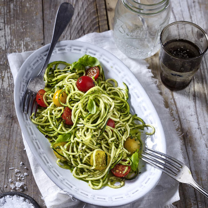 Raw Zucchini Noodles and Tomatoes in Pesto