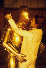 Photo: Jun 01, 1980; Los Angeles, CA, USA; Europe, South Africa, Japan, Australia, New Zealand OUT! Actor ANTHONY DANIELS stars as 'C-3PO' and Actress CARRIE FISHER stars as 'Princess Leia' on the set of Star Wars Episode V 'The Empire Strikes Back'.Mandatory Credit: Photo by Lynn Goldsmith/ZUMA Press.(©) Copyright 1980 by Lynn Goldsmith