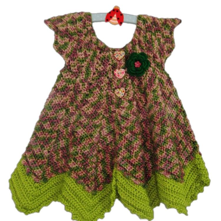 Baby Sweet Ripple Cardigan- Rose-Green Garden by Crochet Heart