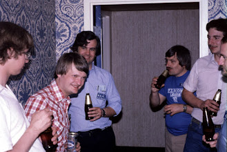Photo: Hospitality suite, Dayton 1982.  K1AR and W3LPL, second and third from left.  Others unidentified (for now).