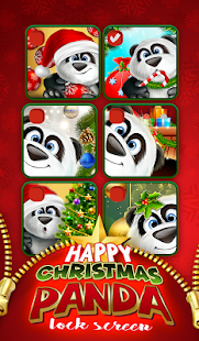 Happy Christmas Panda Lock Screen - náhled