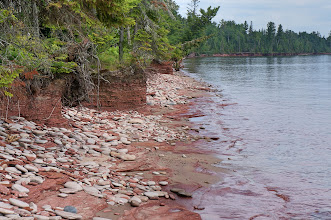 Photo: Beautifully eroded Jacobsville Sandstone shore at Rabbit Bay on the east side of the Keweenaw Peninsula.